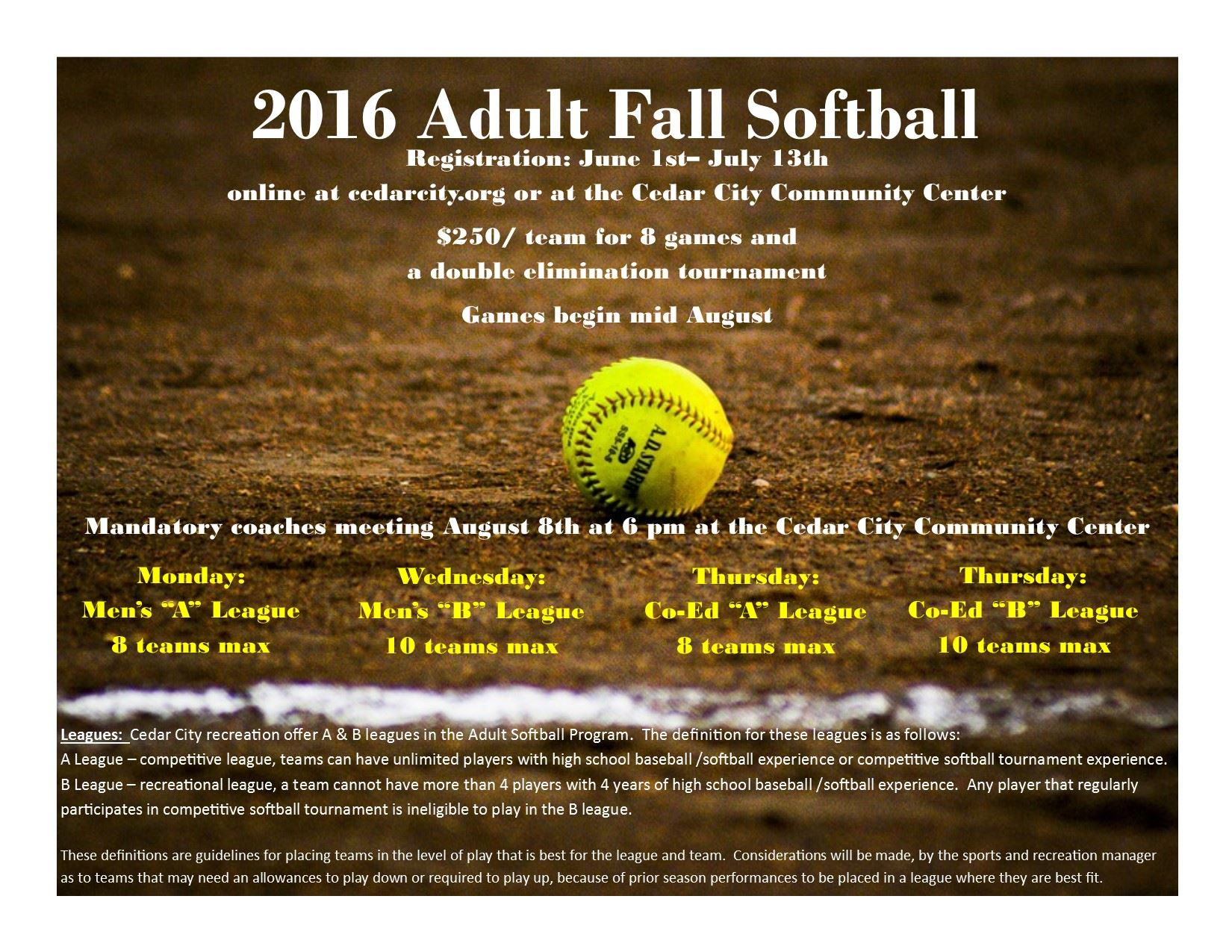2016 Adult Fall Softball FLYER
