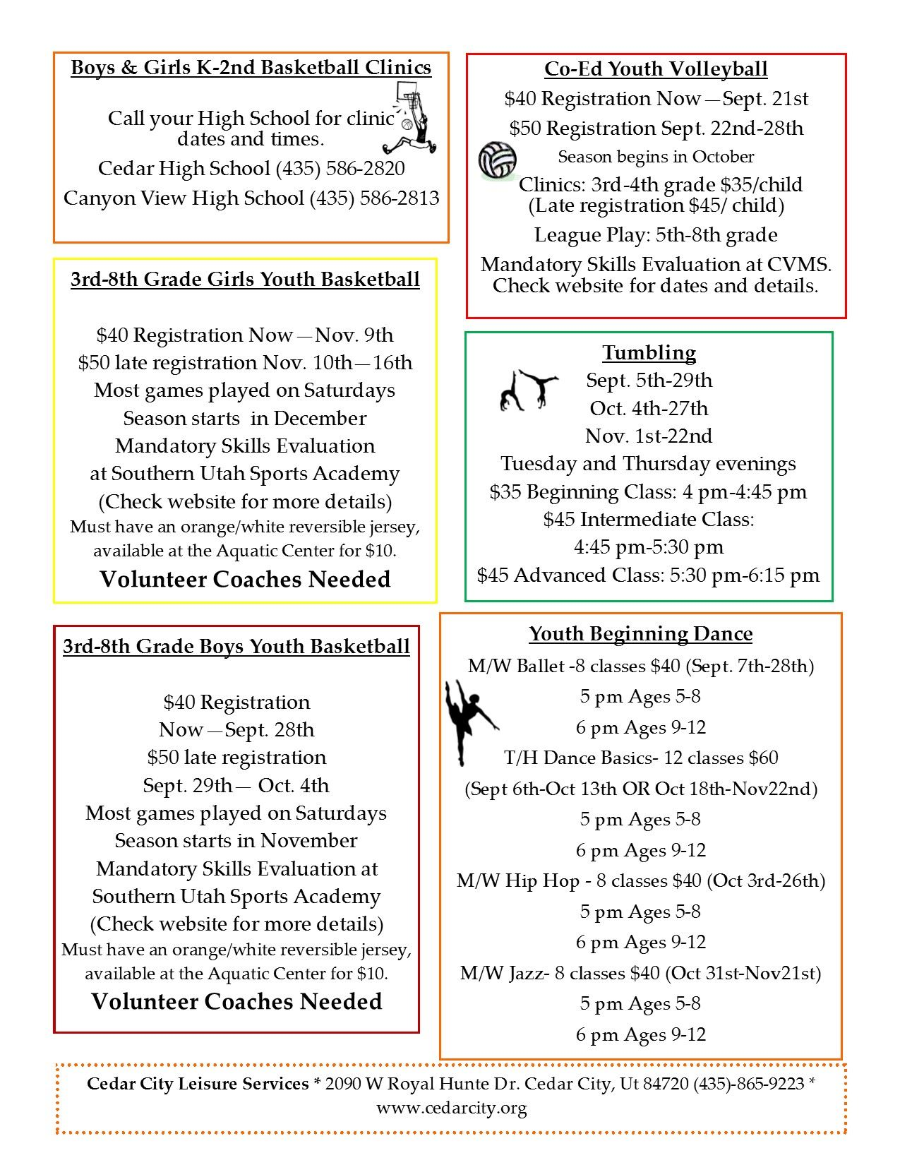 2016 Fall Activities Flyer Back