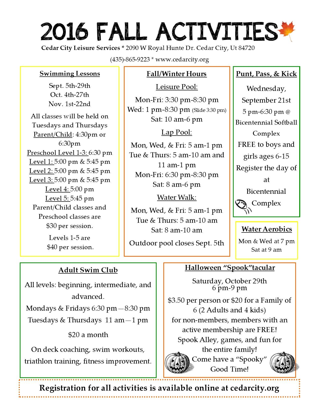 2016 Fall Activities Flyer Front