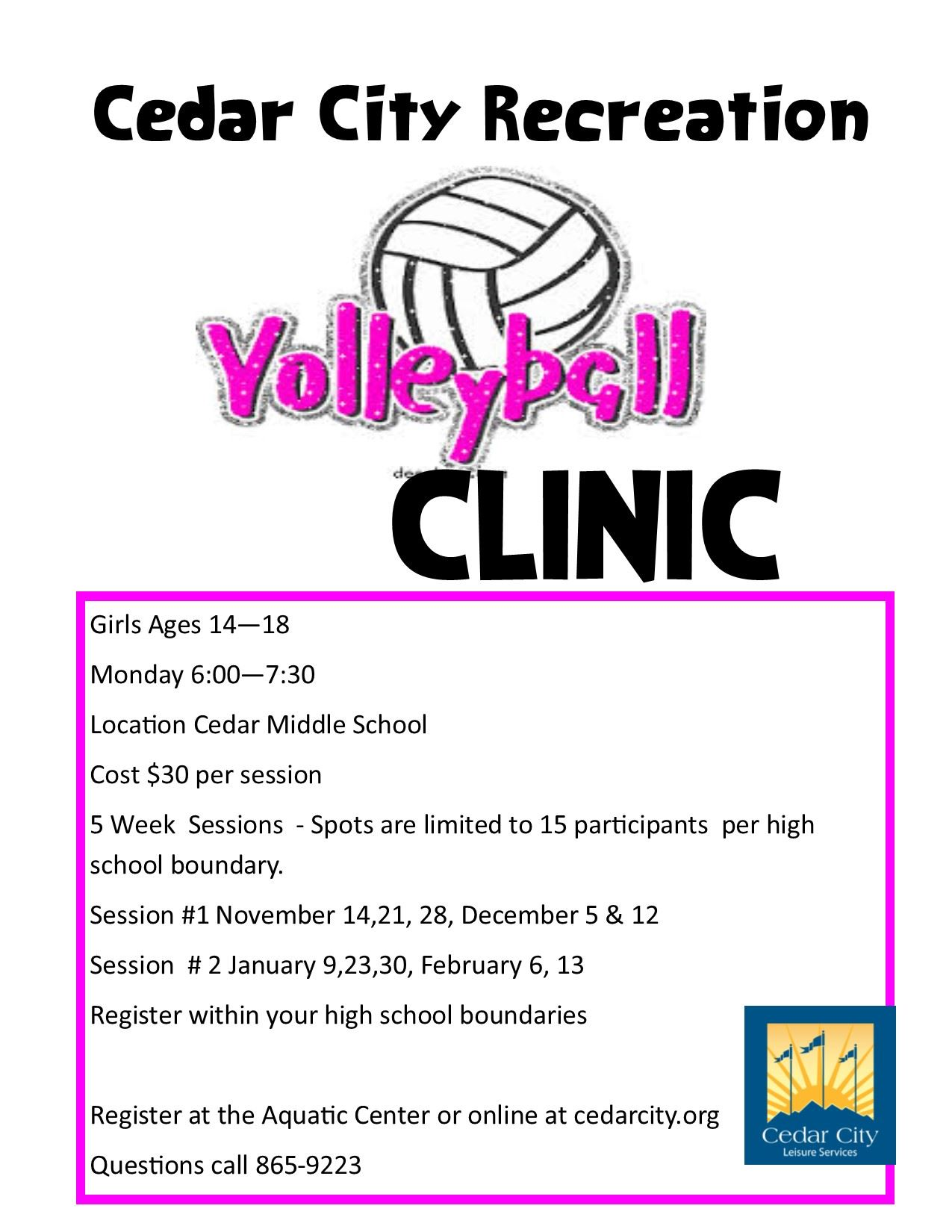 14- 18 Volleyball Clinics FLYERS