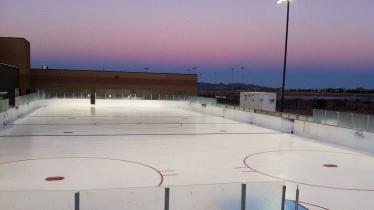 Purple sky twilight at the rink